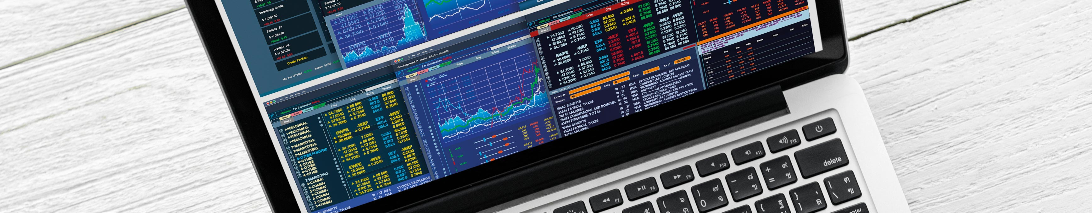 Laptop with financial figures